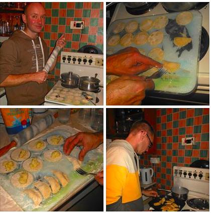 Making perogi polish pies